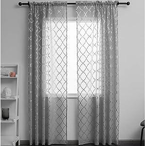 Gray and Silver Sheer Curtains Draperies Morrocan Metallic Print Rod Pocket 2 Panels 52 W x 96 L