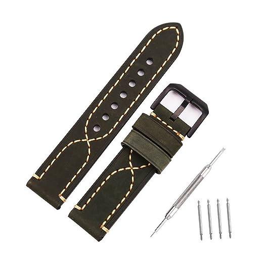 Correa de Reloj Bandas de Reloj de Repuesto de Cuero Genuino Vintage para Relojes Deportivos al