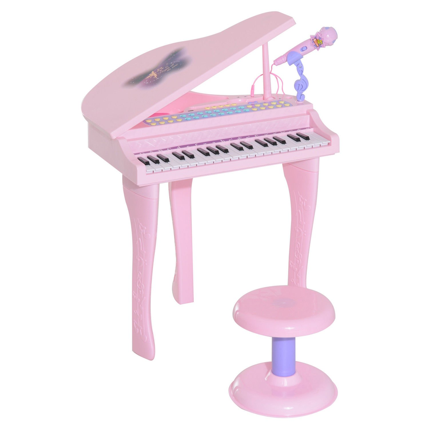 Qaba 37 Key Kids Toy Baby Grand Digital Piano with Microphone and Stool - Pink by Qaba