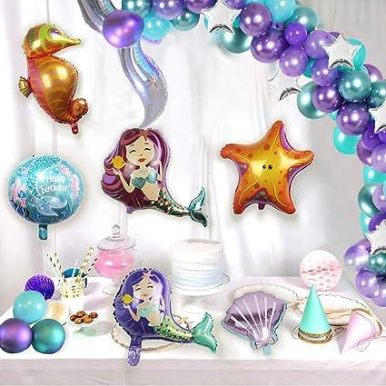 Amazon.com: Kit de guirnalda y arco de globos de sirena ...