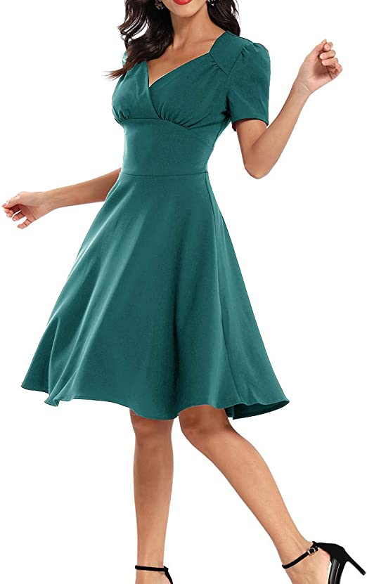 Your New Look Damska-Kleid, Vintage-Stil, V-Ausschnitt, einfarbig, A-Linie, kurze Ärmel, Taille, knielang, sexy Partykleid, elegantes Arbeitskleid: Odzież