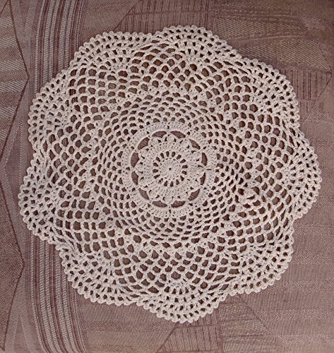 Quasimoon 11.5 Round Shaped Handmade Cotton Crochet Doilies – Beige (2 PACK) by PaperLanternStore