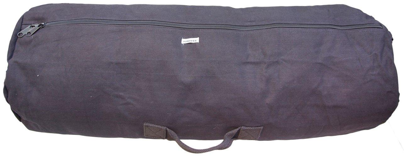 HUMVEE HMV-GB-04BLK Medium Size Cotton Canvas Duffle Bag with Top and Side Handles, Black