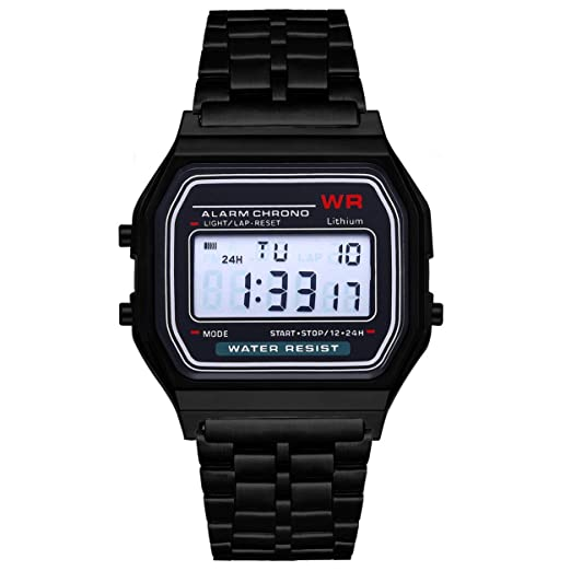 LED Reloj Digital Ultra Thin Alarm Reloj Calendario para Hombres Mujeres, Negro: Amazon.es: Relojes
