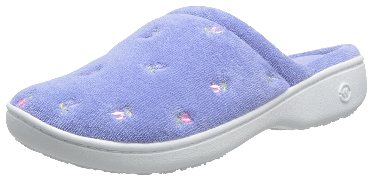 Isotoner Women's Signature Terry Floral Embroidered Slipper