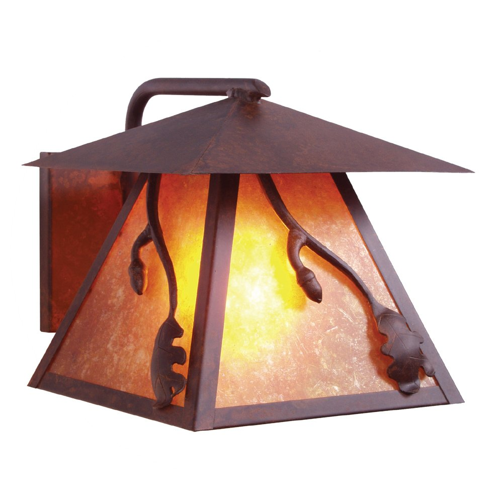 Steel Partners Lighting 9101-OI ACORN WetLo Sconce with Amber Mica Lens Old Iron Finish
