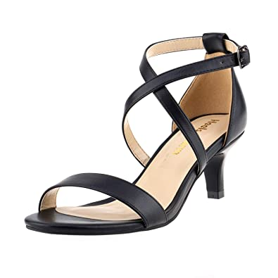 b9763eda6c6c Women Stiletto Open Toe Cross Strappy Heeled Sandals 2 Inch Ankle Strap  High Heels Dress Shoes