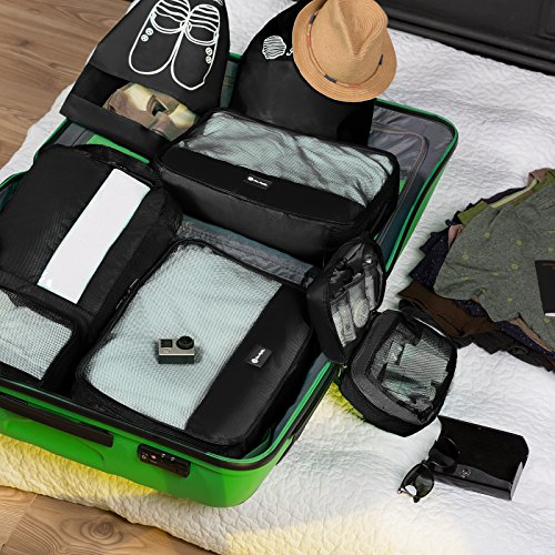 Packing Cubes Travel Set 7 Pc Luggage Carry-On Organizers Toiletry & Laundry Bag by Free Rhythm (Image #2)