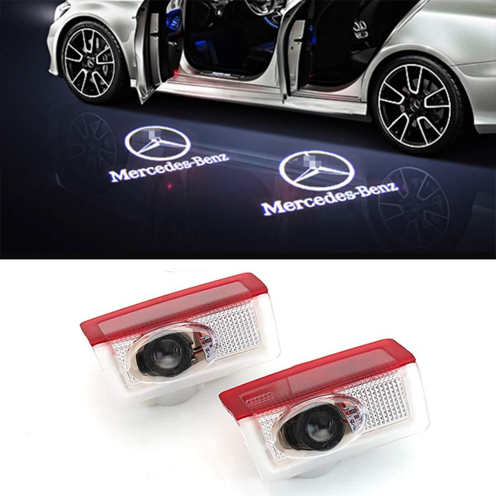 Cqlights Auto LED T/ür Logo Ghost Shadow Projektor Laser Willkommen Lichter f/ür Mercedes-Benz Serie Symbol Emblem H/öflichkeit Schritt Lichter Bodenlampe Kit 2 Pack