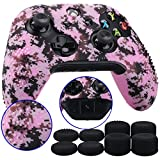 xbox one controller cover pink - 9CDeer 1 Piece of Studded Protective Customize Digital Camo Silicone Cover Skin Sleeve Case 8 Thumb Grips Analog Caps for Xbox One/S/X Controller Pink Compatible with Official Stereo Headset Adapte