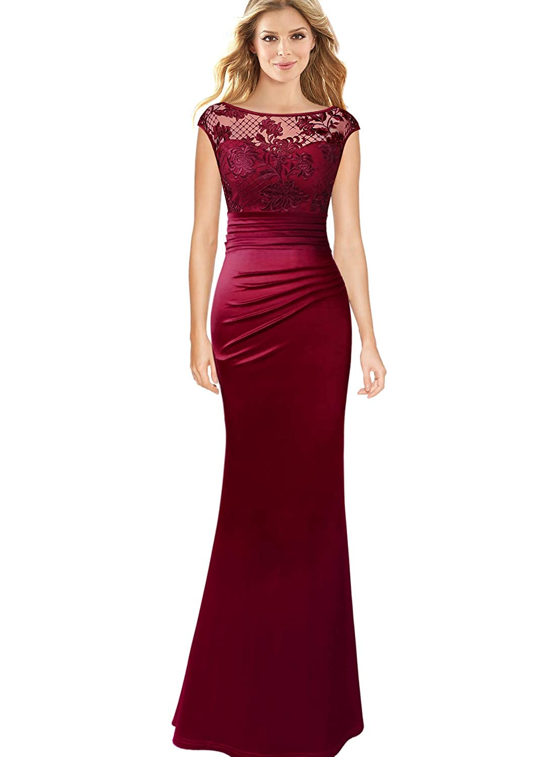 Dark Red Embroidery VFSHOW Womens Floral Lace Ruched Formal Prom Evening Mermaid Maxi Dress