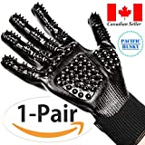Pacific Husky Pair Of Pet Grooming Gloves - Gentle Deshedding Brush Glove with Soft Rounded Nubs & Adjustable Wrist Strap - Flexible Mitts For Deshedding, Bathing, Massaging & Hair Removal (Black - Navy Blue) (S, Black)