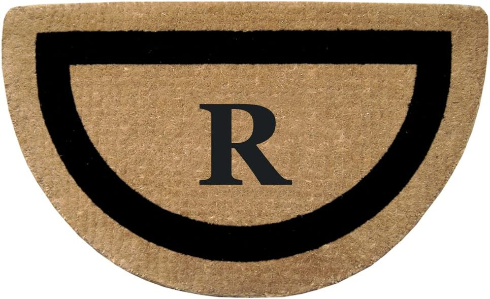 Nedia Home Single Picture Black Frame Half Round Heavy Duty Coir Doormat, 22 by 36-Inch, Monogrammed R