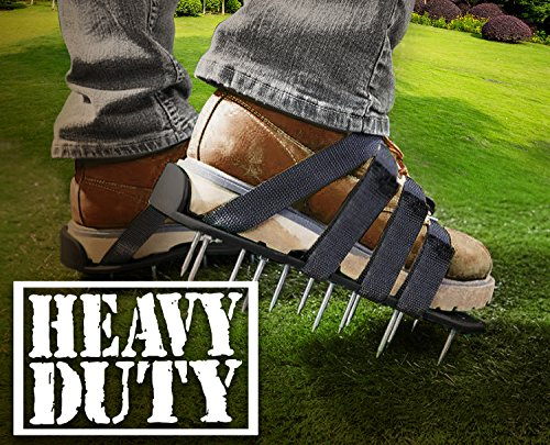 Premium Nylon Heavy Duty Lawn Aerator Shoes - 4 Adjustable Straps and Metal Buckles - Nylon Aerating Sandals with Zinc Alloy Buckles - Extra Spikes and Bonus Wrench Included by Gardenite (Image #5)