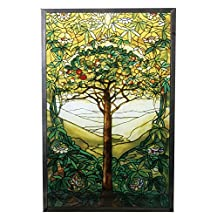 """10 Inch Stained Glass Tiffany - """"Tree of Life"""" Art Glass"""
