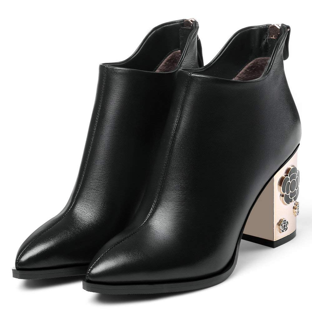 Black AnMengXinLing Ankle Boot Women Block High Heel Platform Genuine Leather Pointed Toe Back Zipper Dress Flower Chelsea Booties