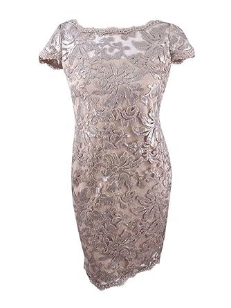 Calvin Klein Womens Sequined Lace Illusion Sheath Dress 16