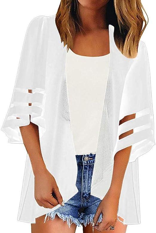 URSING damska bluzka z motywem kwiatowym kimono kardigan jednokolorowy nadruk 3/4 ramię szyfon top kardigan bluzka shawl jesień lato plażę kapelusz up lekka bluza plażowa boho: Odzież