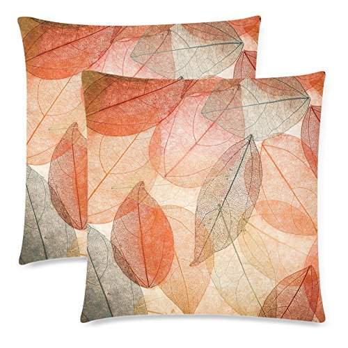InterestPrint 2 Pack Abstract Autumn Leaves Throw Cushion Pillow Case Cover 18x18 Twin Sides, Beautiful Fall Leaf Zippered Pillowcase Set Shams Decorative