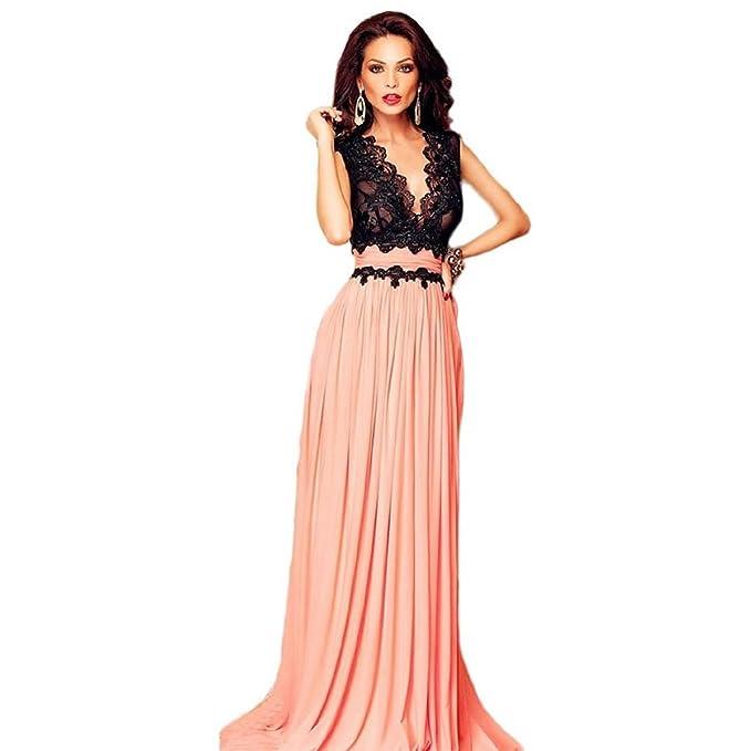 Mela Proibita - Abito lungo nero corallo in pizzo cerimonia vestito  elegante donna impero sexy - Corallo 5722760fd5c