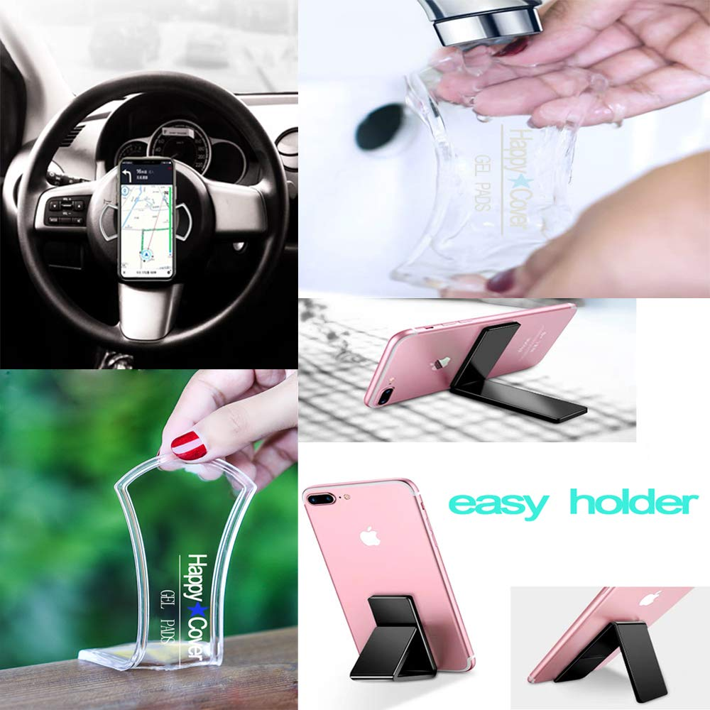 HappyCover Premium Fixate Rubber Pads,Multi-Purpose Nano Gel Pads Washable and Reused,Sticky Cell Phone Holder for Car,Amazing Magic Sticker,Universal Non-Slip Mat ZSHK White Strip