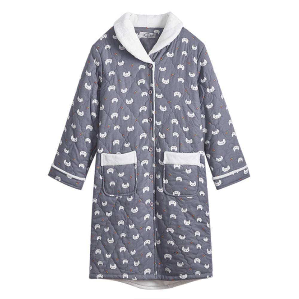 NAN Liang Lady Bathrobes 100% Cotton Dressing Gown ThreeLayer Thick Warm Sleepwear Luxury Robe (Size   L)