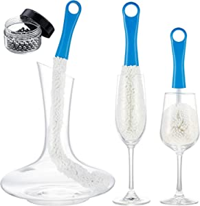 3 Pieces Wine Decanter Cleaning Brush Flexible Bottle Scourer with Stainless Steel Decanter Cleaning Balls Multi-Function Household Cleaning Tools for Goblets/Champagne Flutes/Cups/Glasses (Blue)