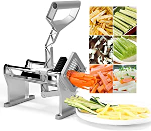 "Goplus French Fry Cutter Fruit Vegetable Potato Slicer Commercial Grade W/ 4 Different Size Stainless Steel Blades 1/4"", 1/2"", 3/8"" and a Round Blade"