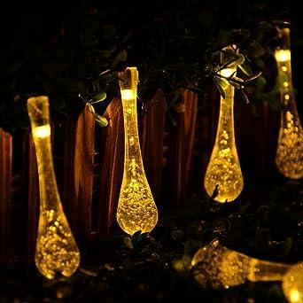 Weihnachtsbeleuchtung Tropfen.Agooding 20 Ft 30 Led Solar Lichterketten Tropfen Eiszapfen Schnur