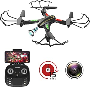 [New Version] WiFi FPV RC Quadcopter Drone with Wide-Angle HD Camera Live Video RTF 4 Channel 2.4GHz 6-Gyro with Altitude Hold Function,Headless Mode and One Key Return Home for Kids and Adults