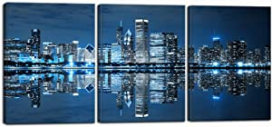 Nachic Wall 3 Piece Pictures Ready to Hang Wall Decorations Blue Chicago Wall Art Canvas Painting City Picture Print on Canvas Framed Modern Home Living Room Bedroom Decor Decoration