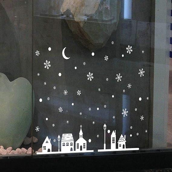 Large Noël Bonhomme De Neige Flocon De Neige Santa Wall Decal PVC Fenêtre Sticker Art