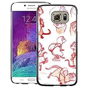 A-type Arte & diseño plástico duro Fundas Cover Cubre Hard Case Cover para Samsung Galaxy S6 (Red Sketch Drawing Graphical Design)