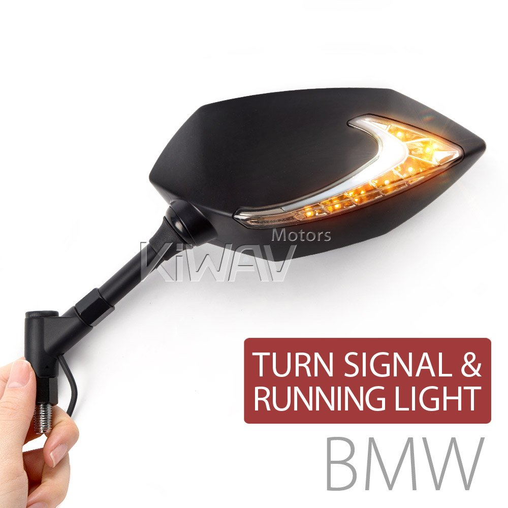 ルシファー Lucifer バイクミラー バックミラー 黒 ツートンカラーのLED(琥珀色と白色) ヘッドライト ウインカー 左右セット BMW 10mm 1.5ピッチ アダプタ付き B01HPQTFA2