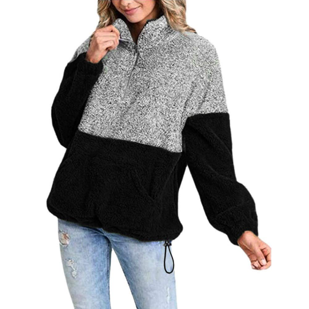 Usstore  Hot!Women Girls Plush Pullover Fall Winter Casual Colorblock Zipper Sweatshirt Tops Coat Outwear Usstore Men' s pant clothes