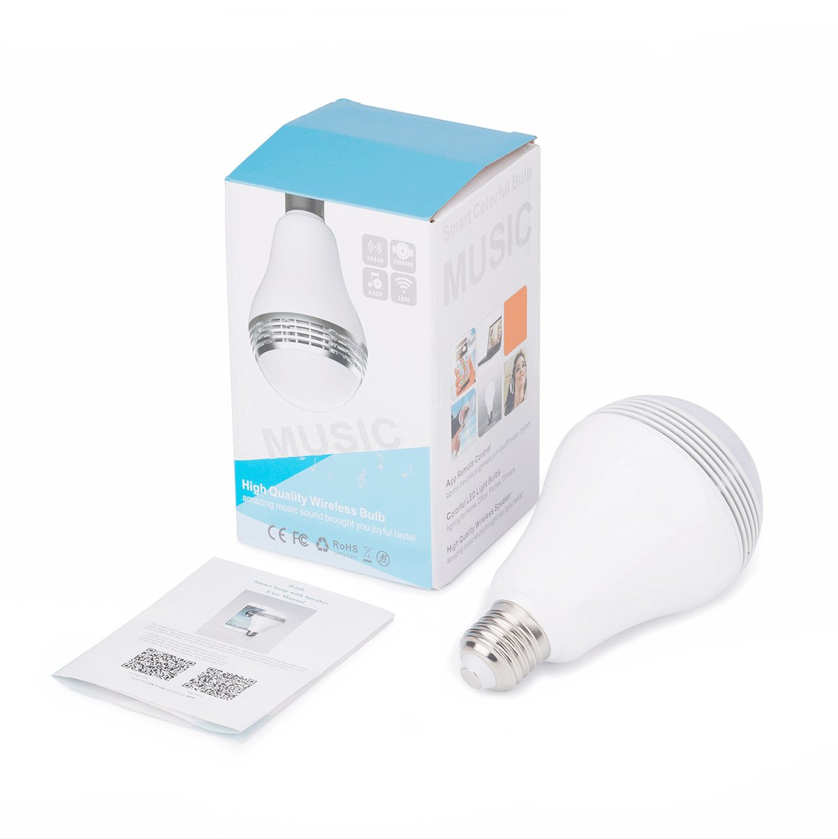 Huamai Bluetooth Speaker Bulb, 2nd Generation LED Light Bulb with Bluetooth Speaker, 8W E26 Dimmable RGB+White Color Smart Music LED Bulb Light