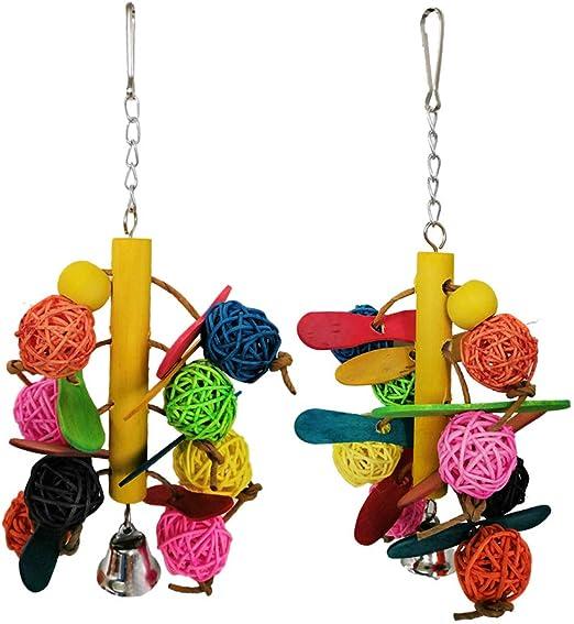 POPETPOP Bird Toy Balls Balls-2 Pack Parrot Chew Balls Color de ratán Juguetes Columpio para Mascotas Periquitos Cockatiels Cockatoo Conure Macaw Lovebird Jaula Chew Chew Toy: Amazon.es: Productos para mascotas