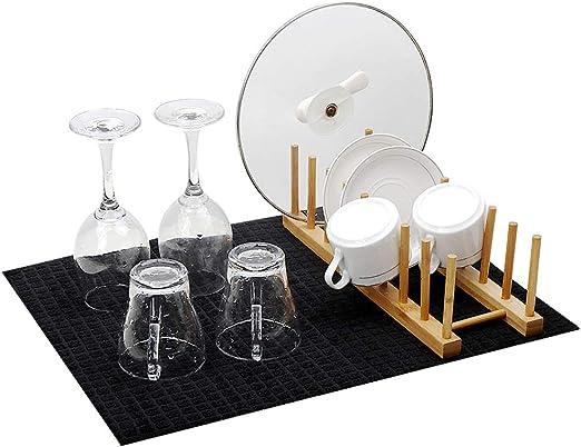 Wasserdichtes Geschirr- /& Utensilien-Abtropfbrett Schwarz Maison /& White Silikonschalenentw/ässerungsmatte Rutschfeste Gummitrockenplatte