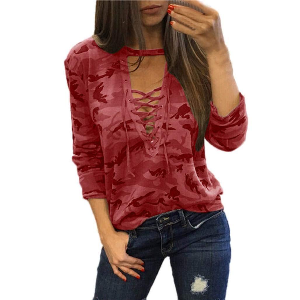 MEIbax Moda Mujeres Camisa de Manga Larga Blusa Casual Delgada Camuflaje Tops de impresión: Amazon.es: Ropa y accesorios