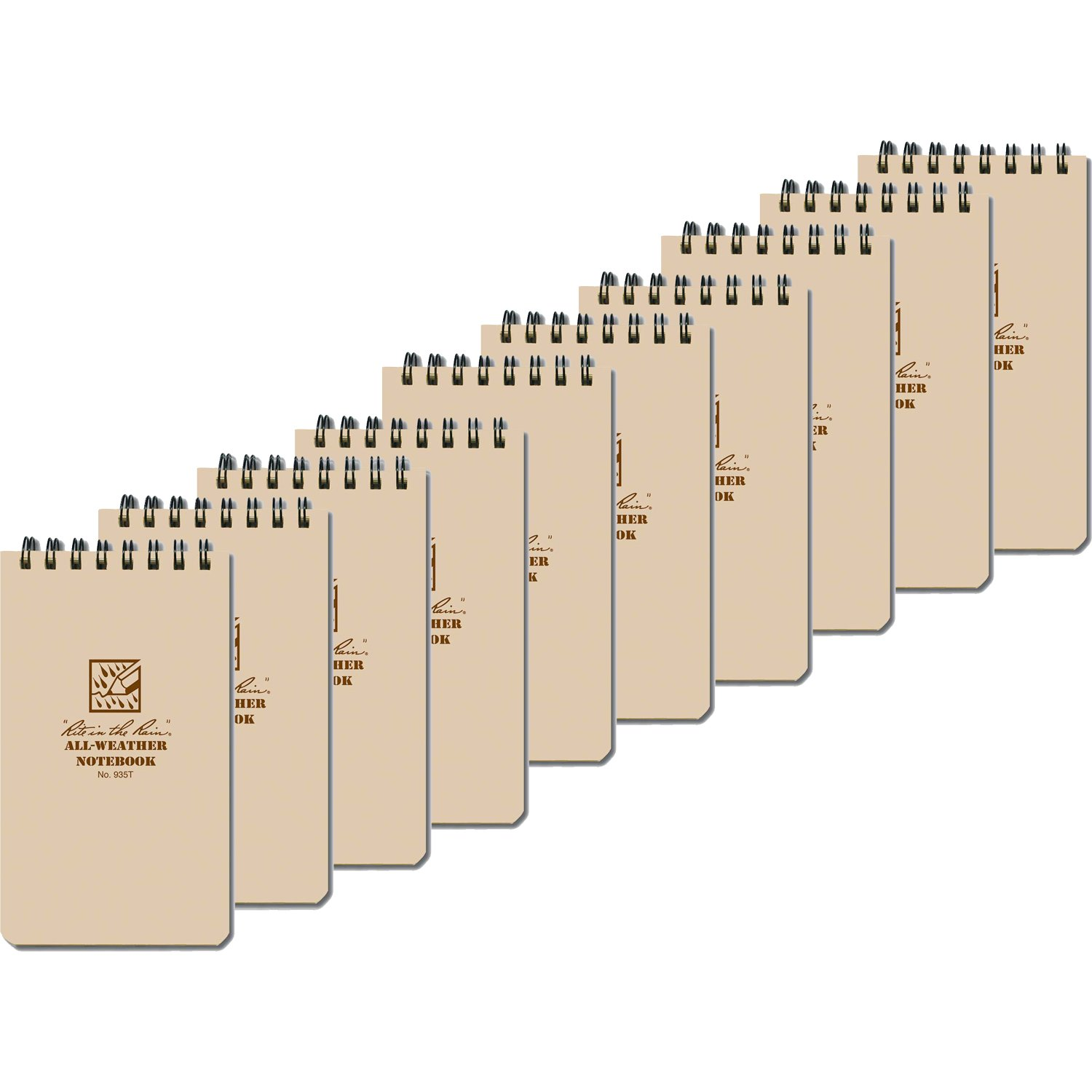 Rite in the Rain 935T Tan Tactical Pocket Notebook 3-inch x 5-inch, 10-Pack