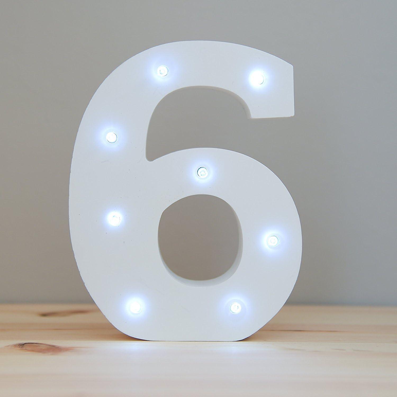 Letras de Números Decorativo de Luz,KINGCOO Blanca Madera Marquesina Numero LED Letrero Señales de Luces con pilas para Fiesta boda Decoración (6): Amazon.es: Iluminación