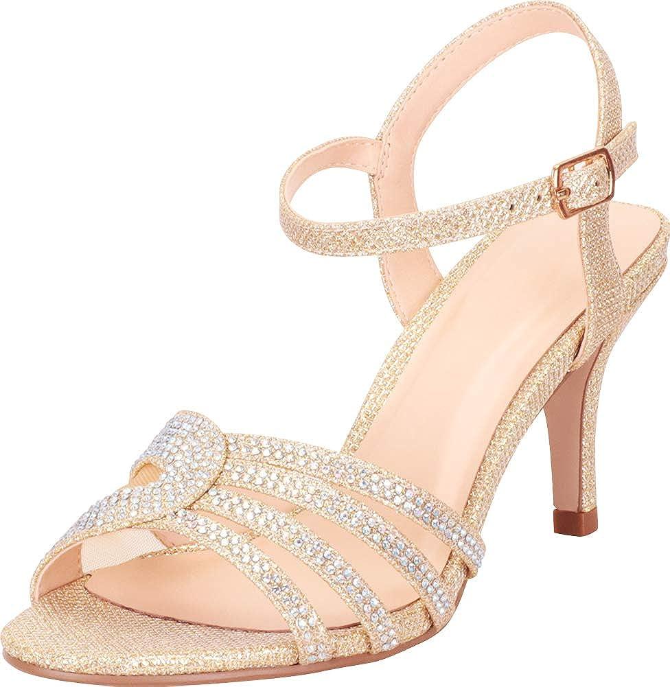 Light gold Shimmer Cambridge Select Women's Open Toe Strappy Crystal Rhinestone Mid Heel Dress Sandal