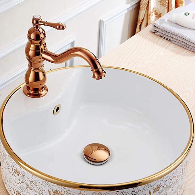 Rose Red Gold Brass Pop Up Bathroom Vessel Sink Drain With Overflow ssd077