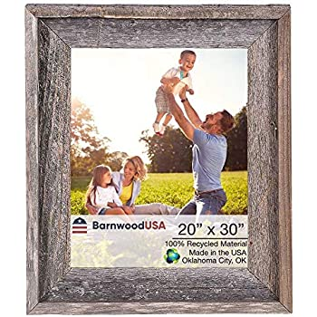 BarnwoodUSA Rustic Farmhouse Signature Picture Frame - Our 20x30 Picture Frame can be Mounted Horizontally or Vertically and is Crafted from 100% Recycled and Reclaimed Wood | No Assembly Required