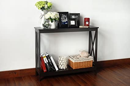 Espresso Finish 2 Tier X Design Occasional Console Sofa Table Bookshelf