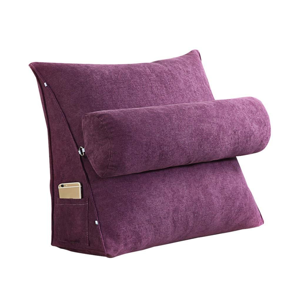 Lil Band Head Pillow Triangle Cushion, Sofa Office Bay Window Lumbar Pillow/Lumbar Support Waist/Pillow (can Be Adjusted in Three Steps) (Color : Purple, Size : 60x50x20cm)