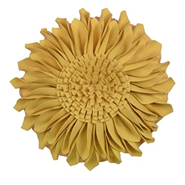 JWH 3D Sunflower Accent Pillow Hand Craft Round Cushion Decorative Pillowcase with Pillow Insert Home Sofa Bed Living Room Decor Gift 14 Inch / 35 cm Wool Cotton Yellow