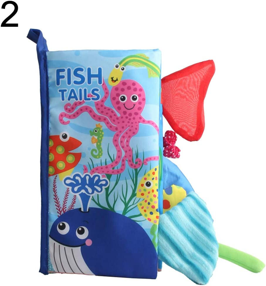 Baby Soft Book Soft Activity Book Unfolding Infant Baby Kids Early Education Toy Cloth Book with Animal Fish Tails Ocean#