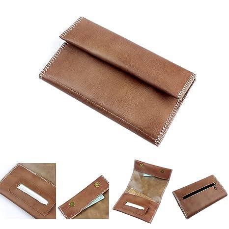 Cartera de piel para guardar el paquete de picadura de tabaco, con ranura para el