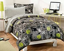 My Room Extreme Skateboarding Boys Comforter Set With 180Tc Sheets, Gray, Full
